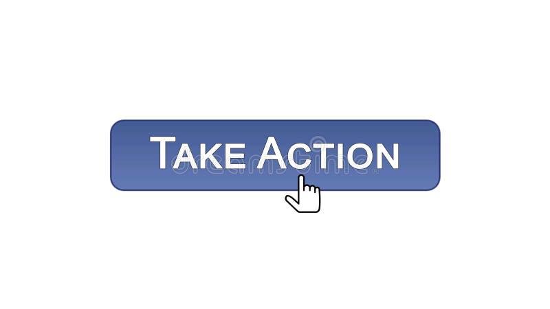 Agisca il bottone dell'interfaccia di web cliccato con il cursore del topo, colore viola, online illustrazione di stock