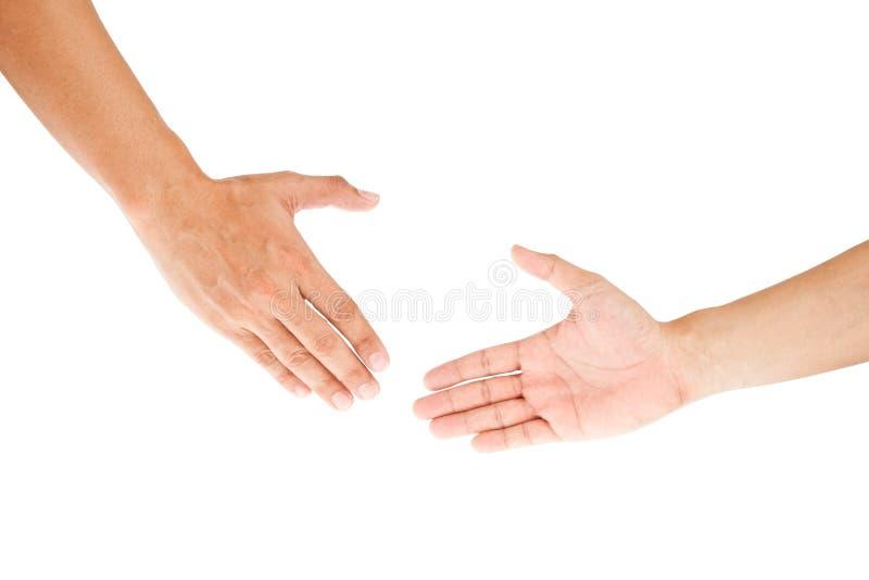 Agitação da mão no branco fotografia de stock