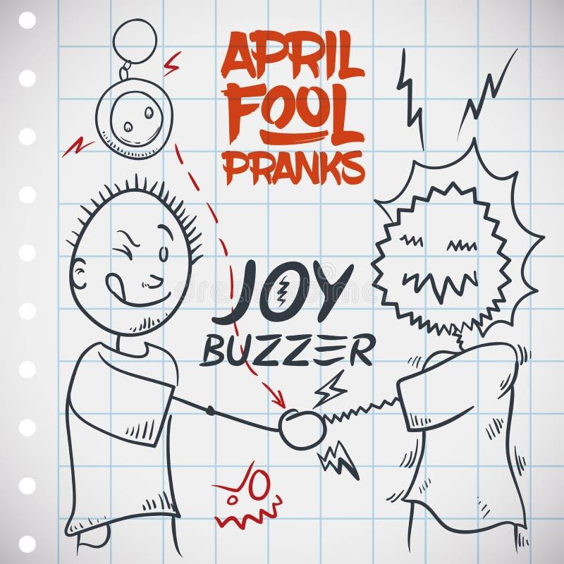 Agitação de eletrificação da mão com Joy Buzzer para o dia dos enganados, ilustração do vetor ilustração do vetor