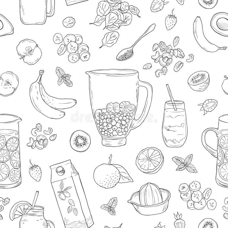 Agitação de fruto natural do batido Dieta da desintoxicação da saúde de Superfood Esboce o fundo do vetor do estilo Suco de fruta ilustração do vetor