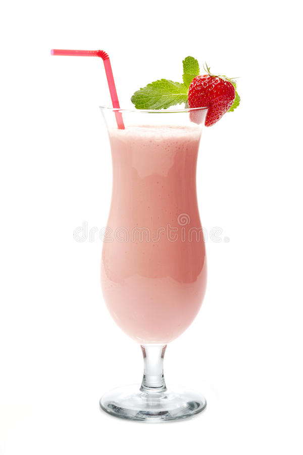 Agitação de leite da morango fotografia de stock
