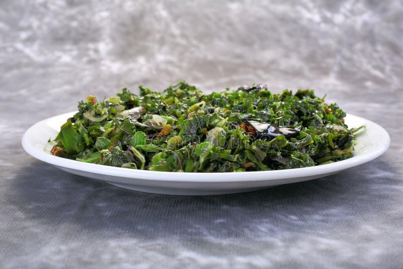 Agitação Fried Water Spinach, vietnamita do alimento imagens de stock