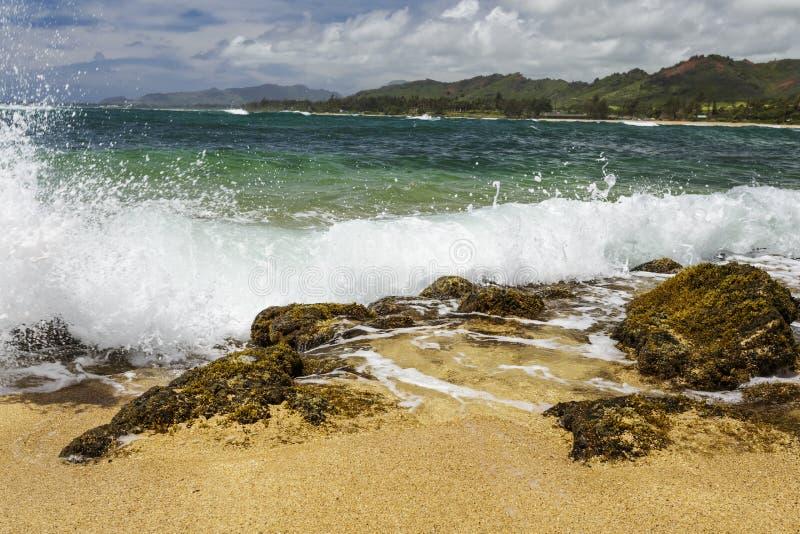 Agita rocas que se estrellan en la playa fotos de archivo libres de regalías