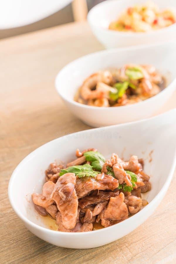 Agitación Fried Pork con goma del camarón foto de archivo