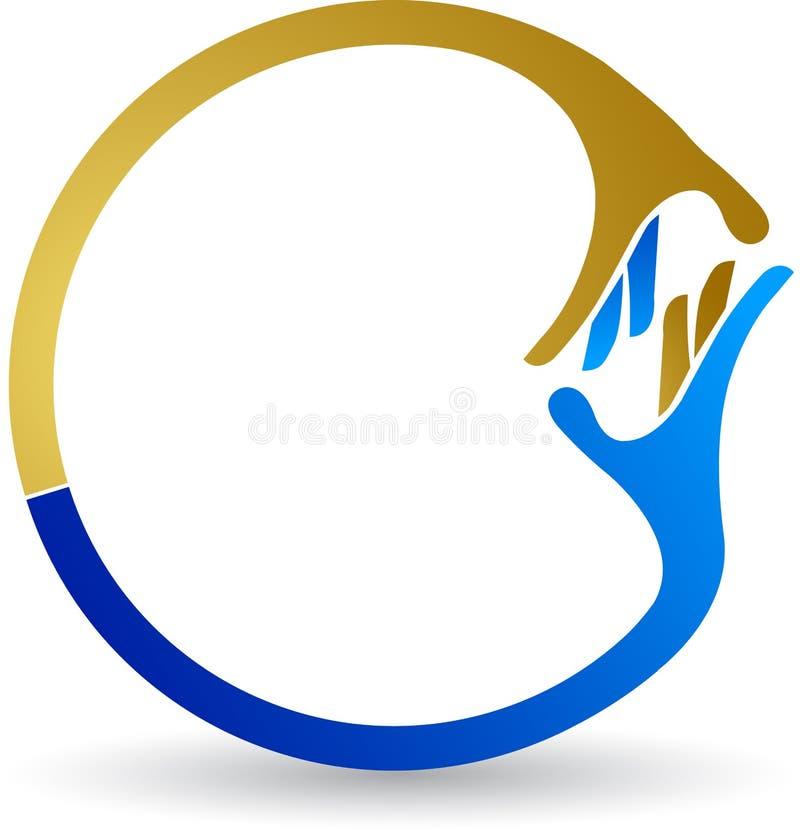 Agitando o logotipo da mão ilustração stock