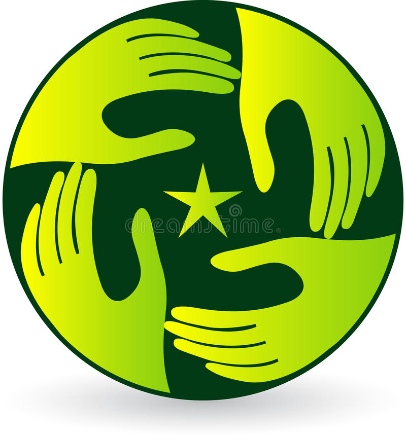 Agitando o logotipo da mão ilustração royalty free