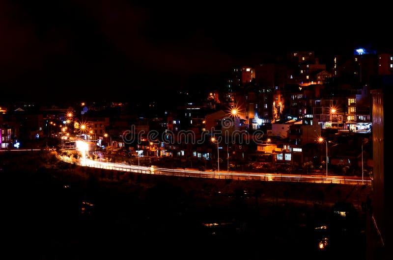 Agitarsi la città del Lat del Da alla notte immagini stock libere da diritti