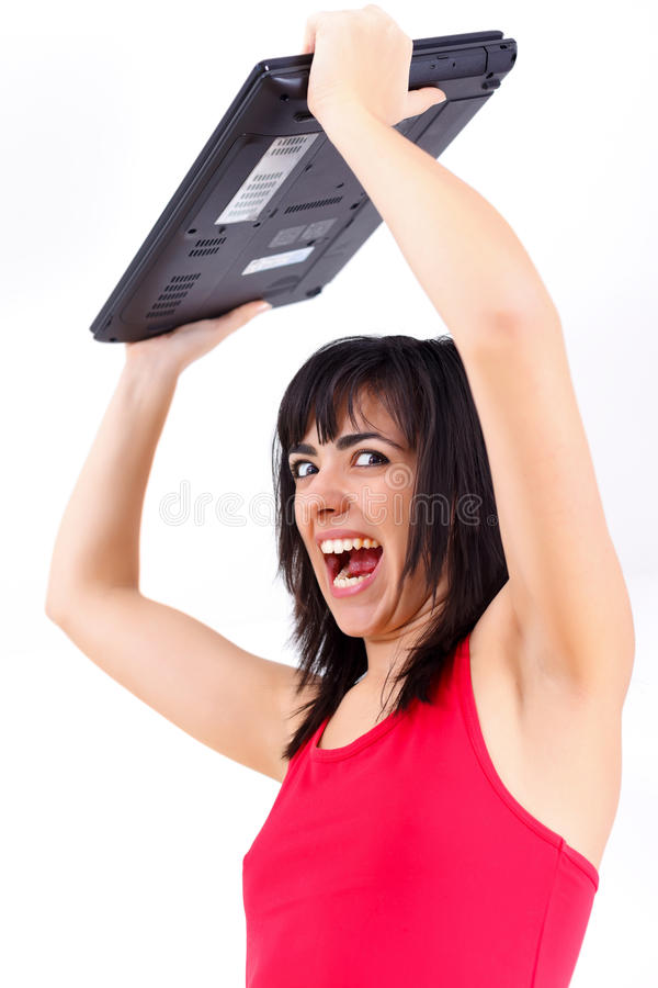 Download Agitated woman with laptop stock photo. Image of breaking - 28486944