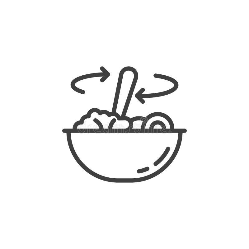 Agitation de la nourriture dans la ligne icône de cuvette illustration stock