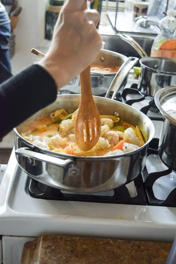 Agitation du ragoût de poissons brésilien de moqueca image stock