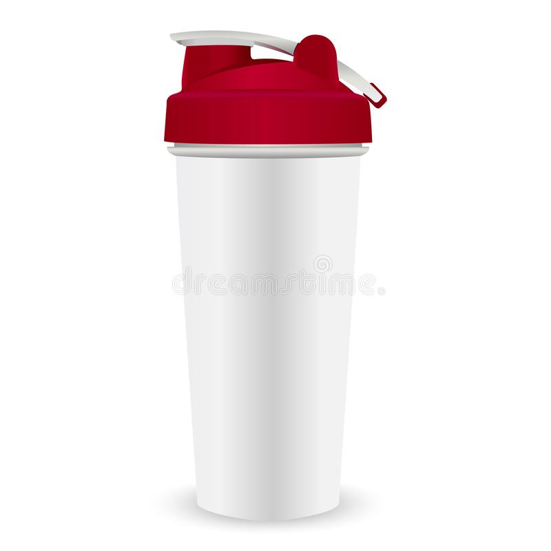 Agitatore di nutrizione della proteina Bottiglia di sport, coperchio rosso royalty illustrazione gratis