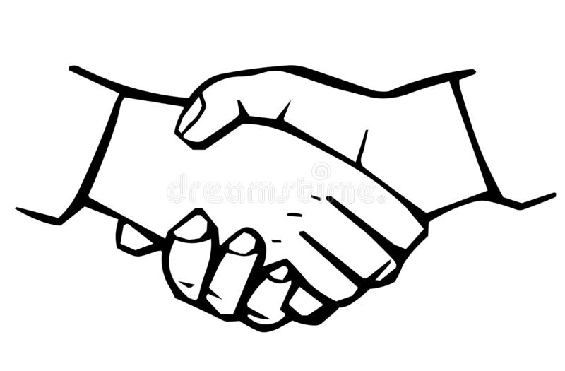 Agite as m?os Linha lisa vetor de Minimalistic da parceria da amizade do aperto de mão do símbolo do pictograma do ícone do curso ilustração royalty free