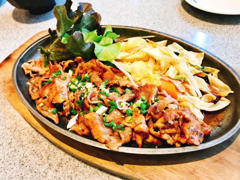 Agite a carne de porco cortada fritada com molho de soja no estilo japonês foto de stock