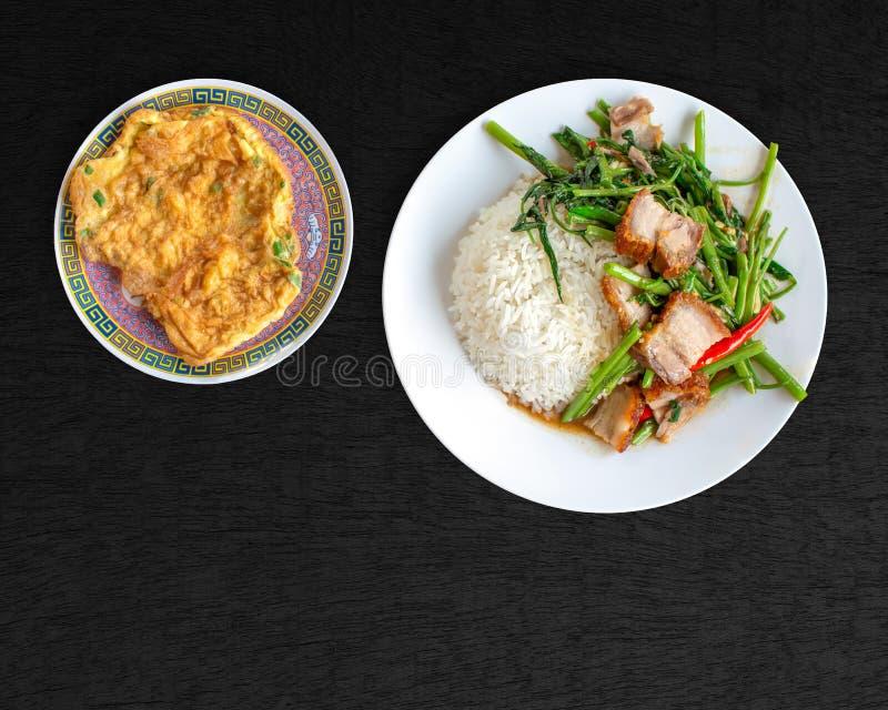 Agite a carne de porco friável da fritada com corriola, arroz do jasmim e omeleta, alimento tailandês fotografia de stock