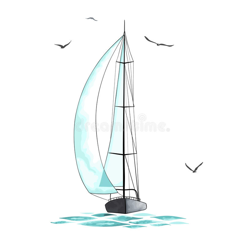 Żaglówka w morzu wokoło seagulls i royalty ilustracja