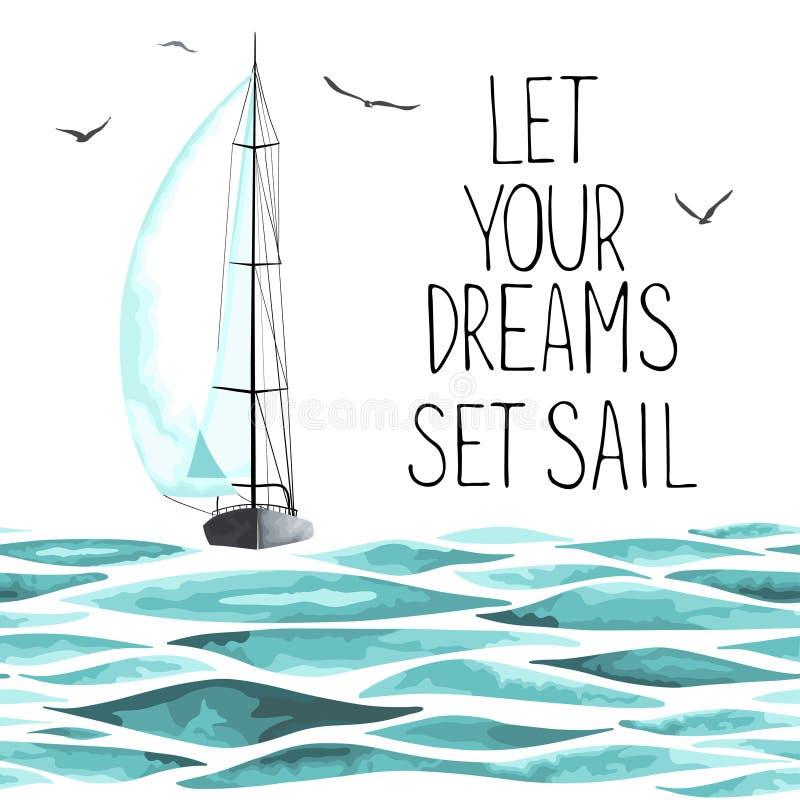 Żaglówka w morzu wokoło seagulls i ilustracji