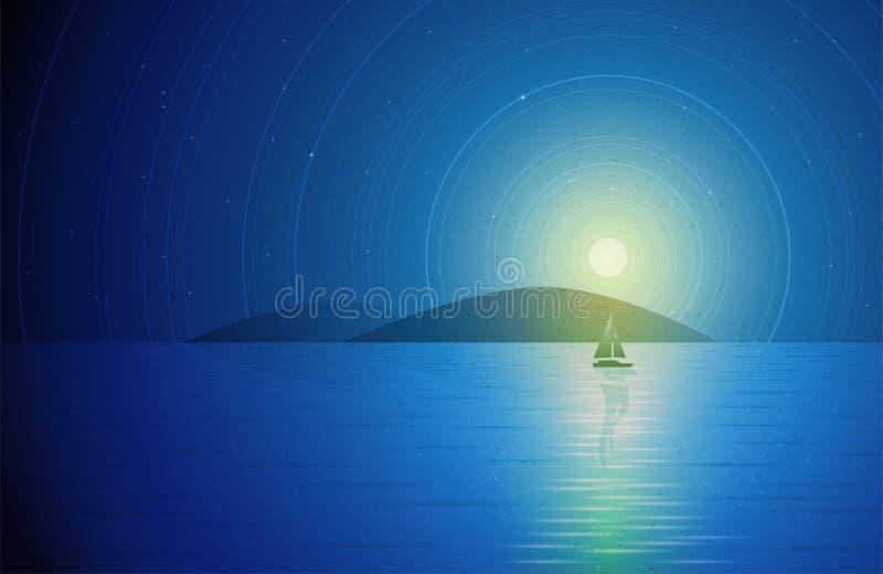 Żaglówka w nocy ilustracji