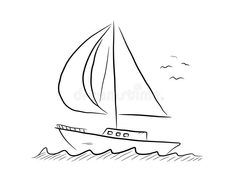 Żaglówki Doodle royalty ilustracja