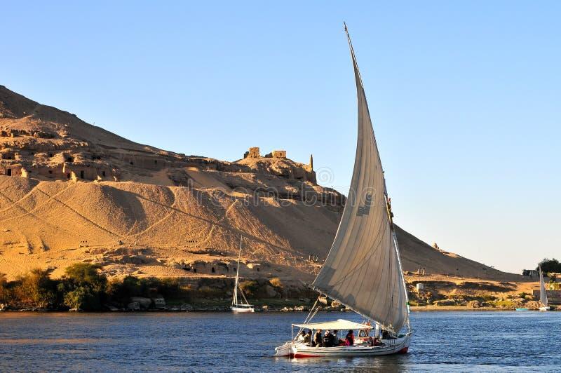 Żaglówki ono ślizga się na Nil rzece zdjęcie royalty free