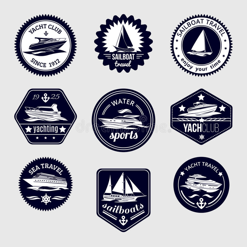 Żaglówki podróż przylepia etykietkę ikony ustawiać ilustracji