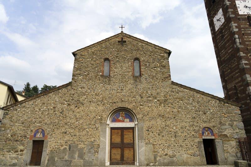 Agliate, medieval church of Santi Pietro e Paolo stock photo