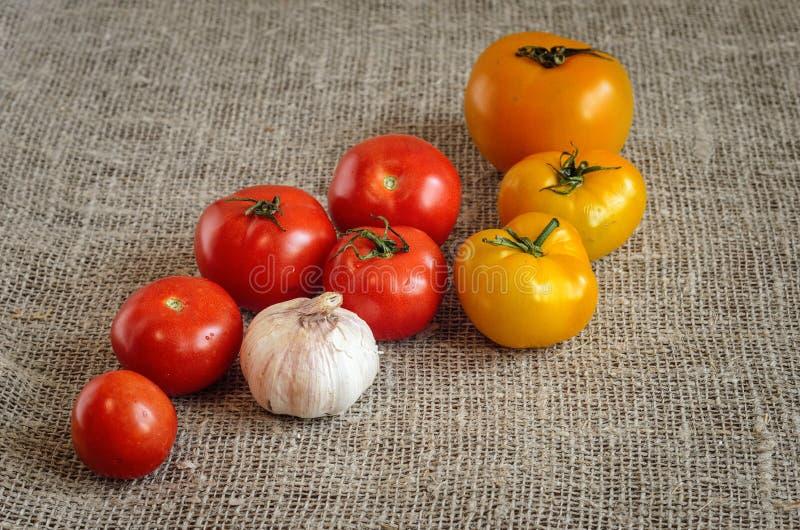 Aglio, pomodori rossi su un tovagliolo di tela da imballaggio fotografia stock libera da diritti