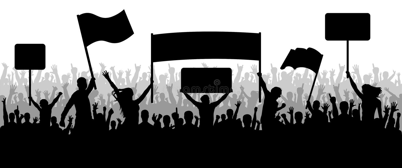 Aglomere povos com a transparência, protestando, demonstração, silhueta ilustração royalty free