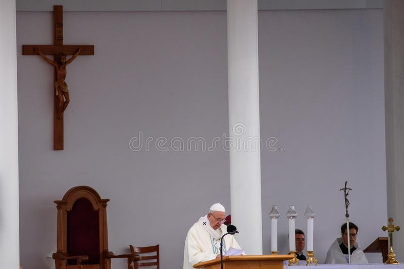 His Holiness Pope Francis, during visit in Latvia. 24.09.2018. AGLONA, LATVIA. His Holiness Pope Francis, during Holy Mass at Aglona Basilica. Pāvests stock photo