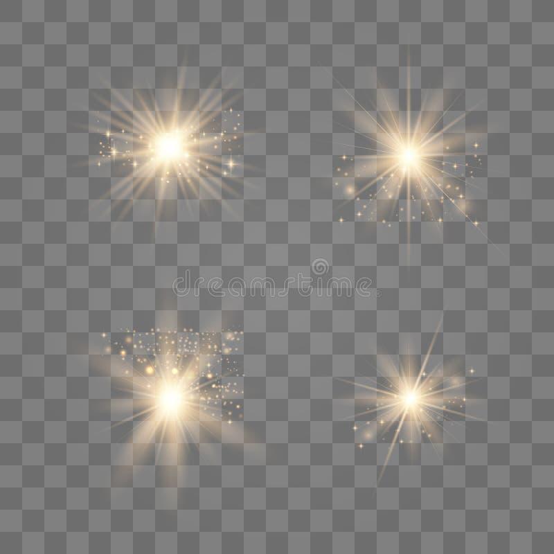 Gold glow light set royalty free illustration