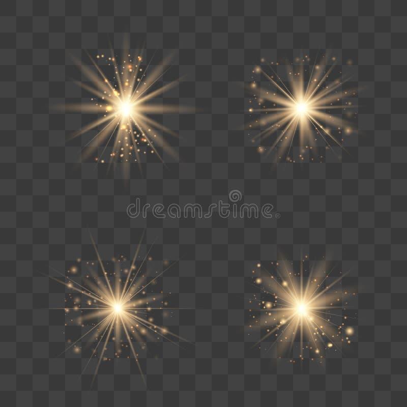 Gold glow light set vector illustration