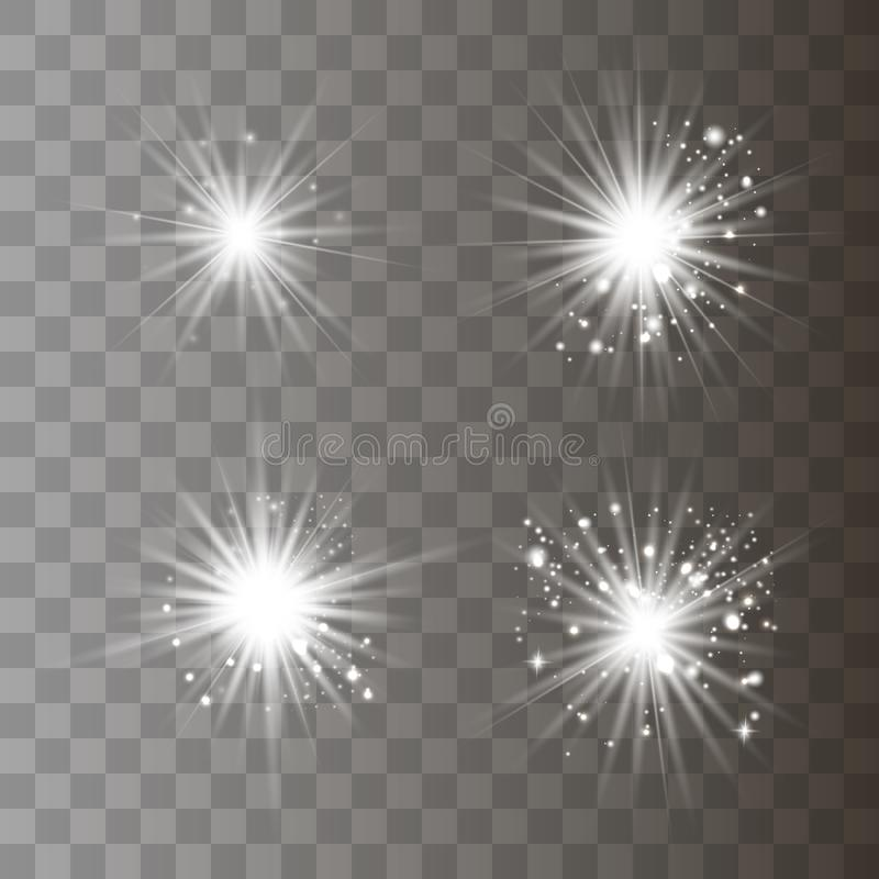White light with dust. White glowing light explodes on a transparent background. Sparkling magical dust particles. Bright Star. Transparent shining sun, bright royalty free stock photo