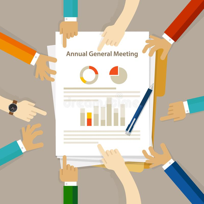 AGM Annual General Meeting shareholder board discuss company review financial profit. Chart hand collaboration on paper vector royalty free illustration