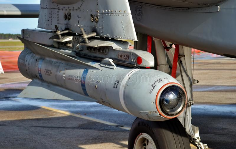 AGM-65 Maverick Missile. Air Force AGM-65 Maverick missile on an A-10 Warthog attack jet stock image