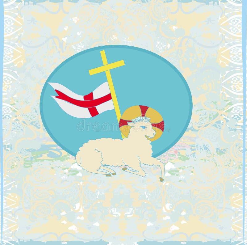 Agneau avec la croix - carte grunge abstraite illustration libre de droits