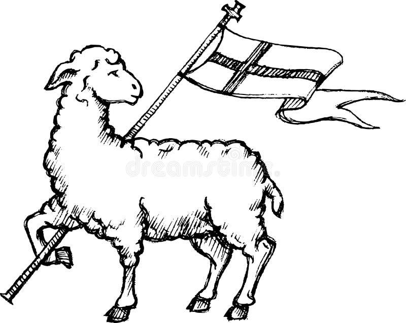 Agneau de croquis de Dieu illustration libre de droits