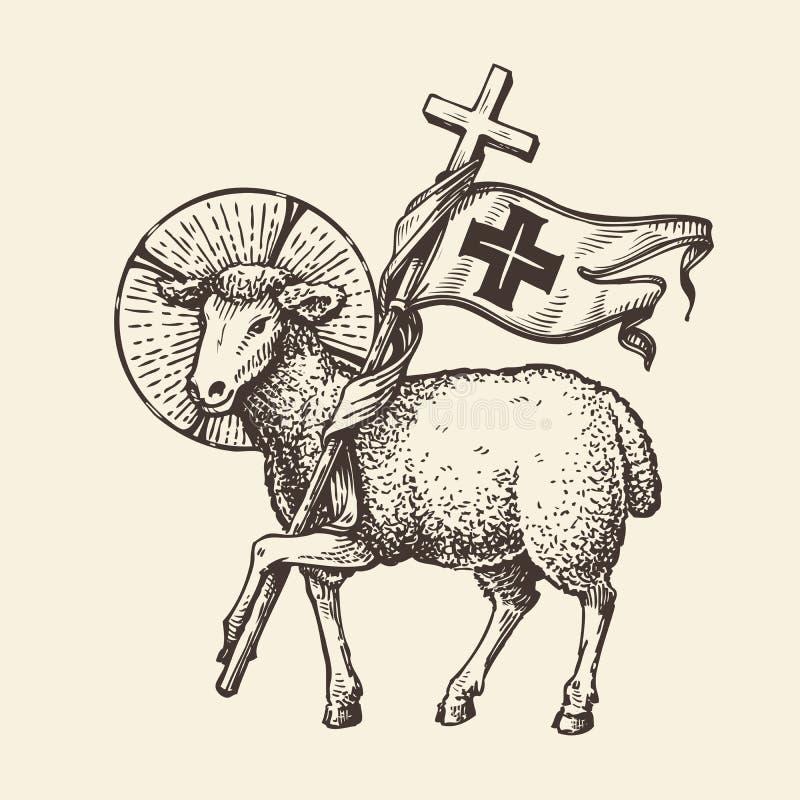 Agneau ou moutons tenant la croix Symbole religieux Vecteur de croquis illustration stock
