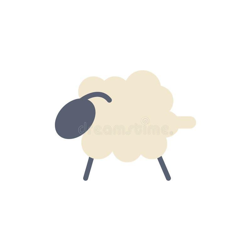 Agnello, pecora, lana, icona piana di colore di Pasqua Modello dell'insegna dell'icona di vettore illustrazione di stock