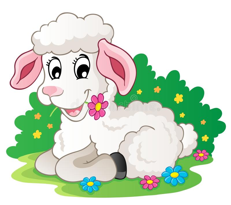 Agnello sveglio con i fiori illustrazione di stock