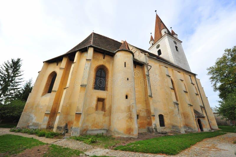 Agnita укрепило церковь, Transylvania, Румынию стоковые изображения rf