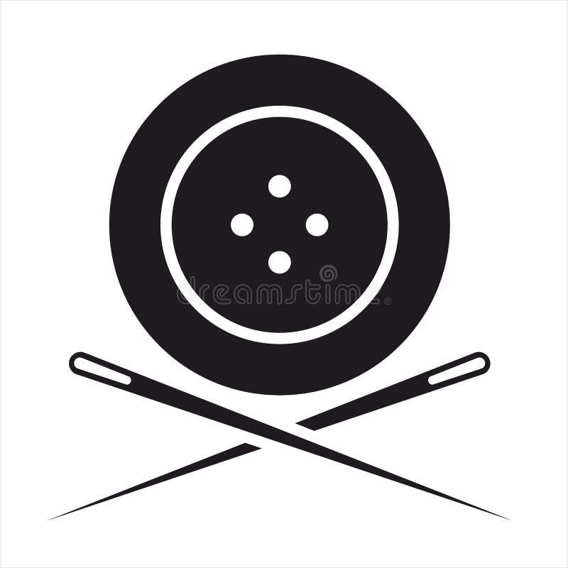 Ago di cucito del whith due del quattro-foro del bottone, il nero di logo e wite fotografia stock libera da diritti