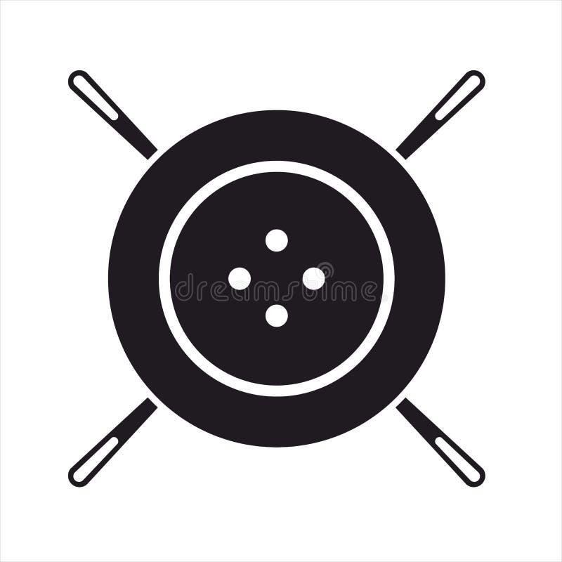 Ago di cucito, icone nere e wite del whith 4 del bottone fotografie stock