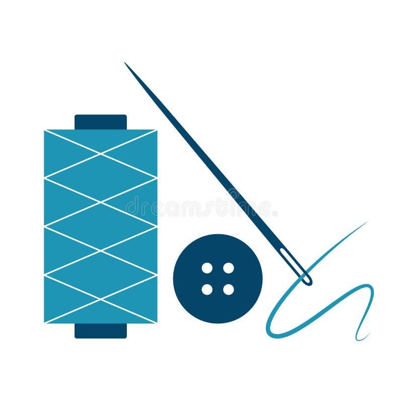 Ago, filo e bottone illustrazione di stock
