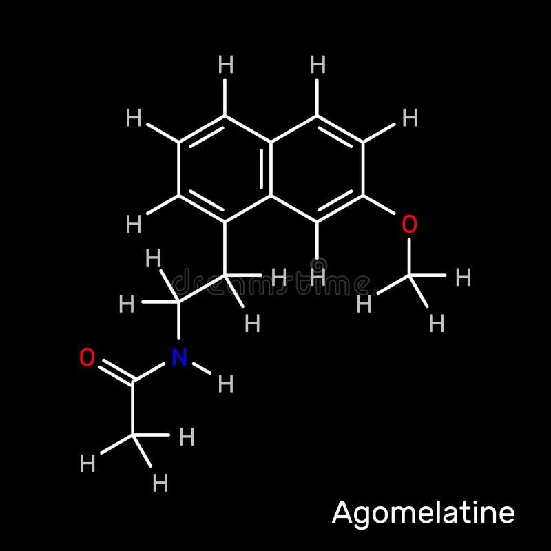 Agomelatine, fórmula estrutural de droga de antidepressivo Vetor ilustração stock