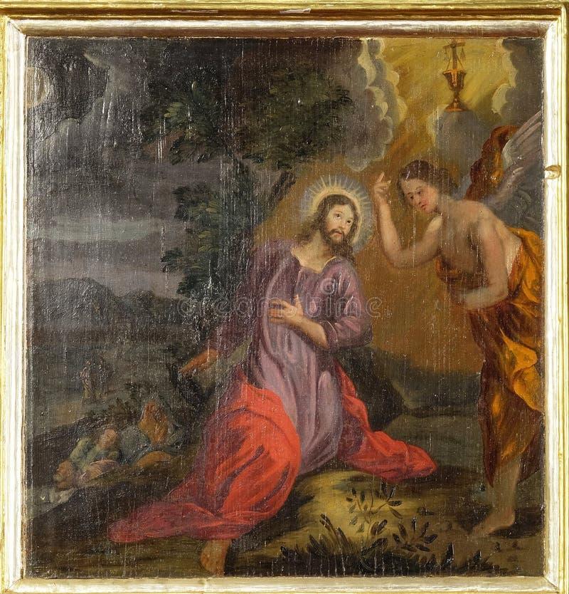 Agonia no jardim, Jesus no jardim de Gethsemane imagens de stock royalty free