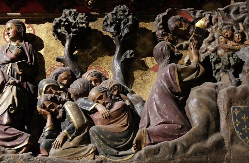 Agonia no jardim, Jesus no jardim de Gethsemane imagens de stock