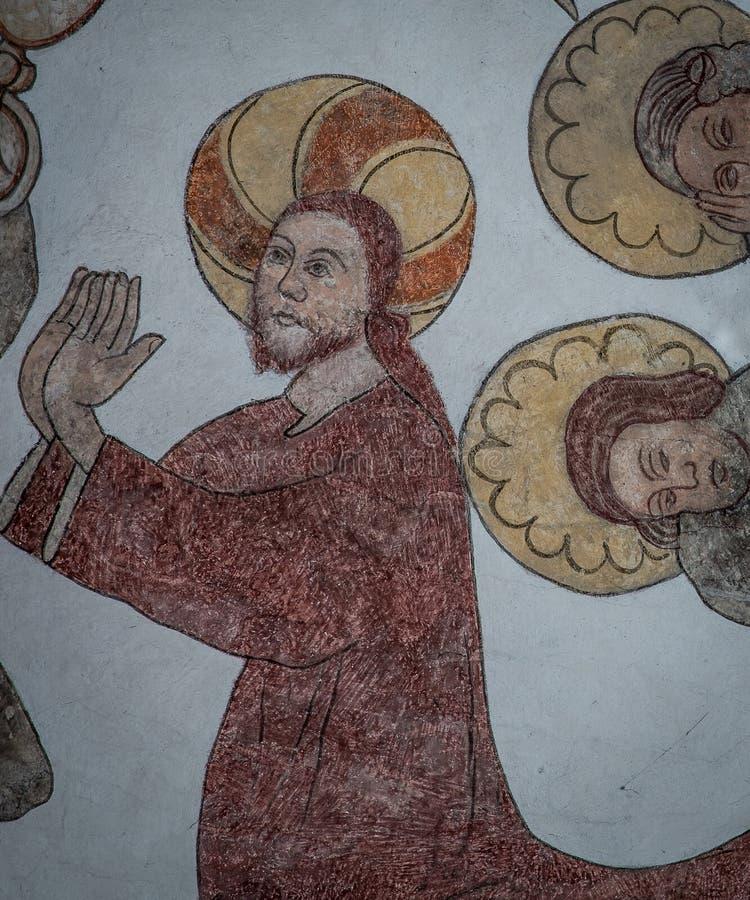 A agonia no jardim, Jesus que ajoelha-se e reza, parede-pintura antiga imagens de stock