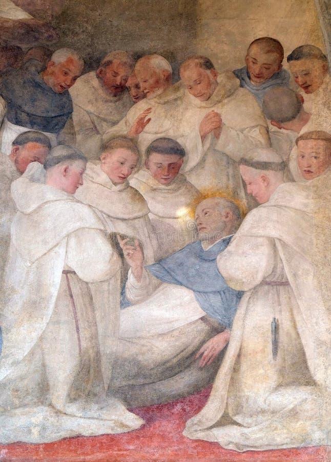 Agonie de San Dominique, fresque en église de Santa Maria Novella à Florence photo libre de droits