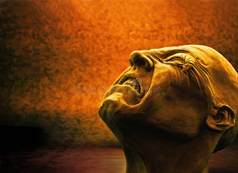 Agony 4. A self-made sculpture of a man in agony