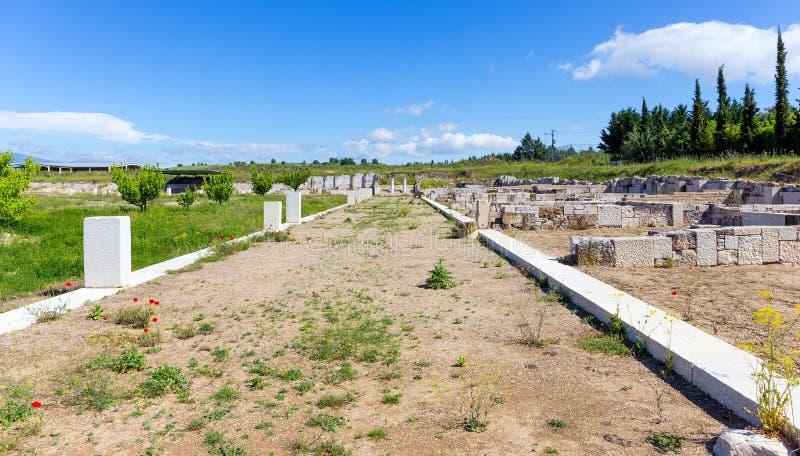 The Agora of ancient Pella, Macedonia, Greece royalty free stock photo