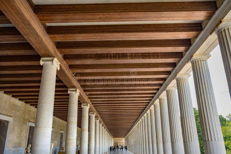 Agora antico Stoa di Attalos Market Place Atene Grecia fotografia stock